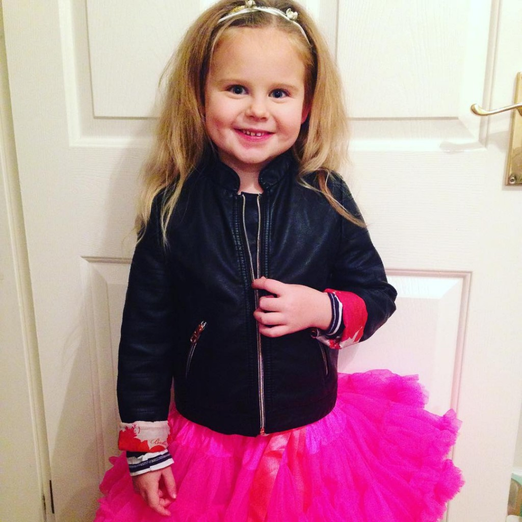 One fierce little girl off to the sch disco. #tutu tutu and leather jacket combo!