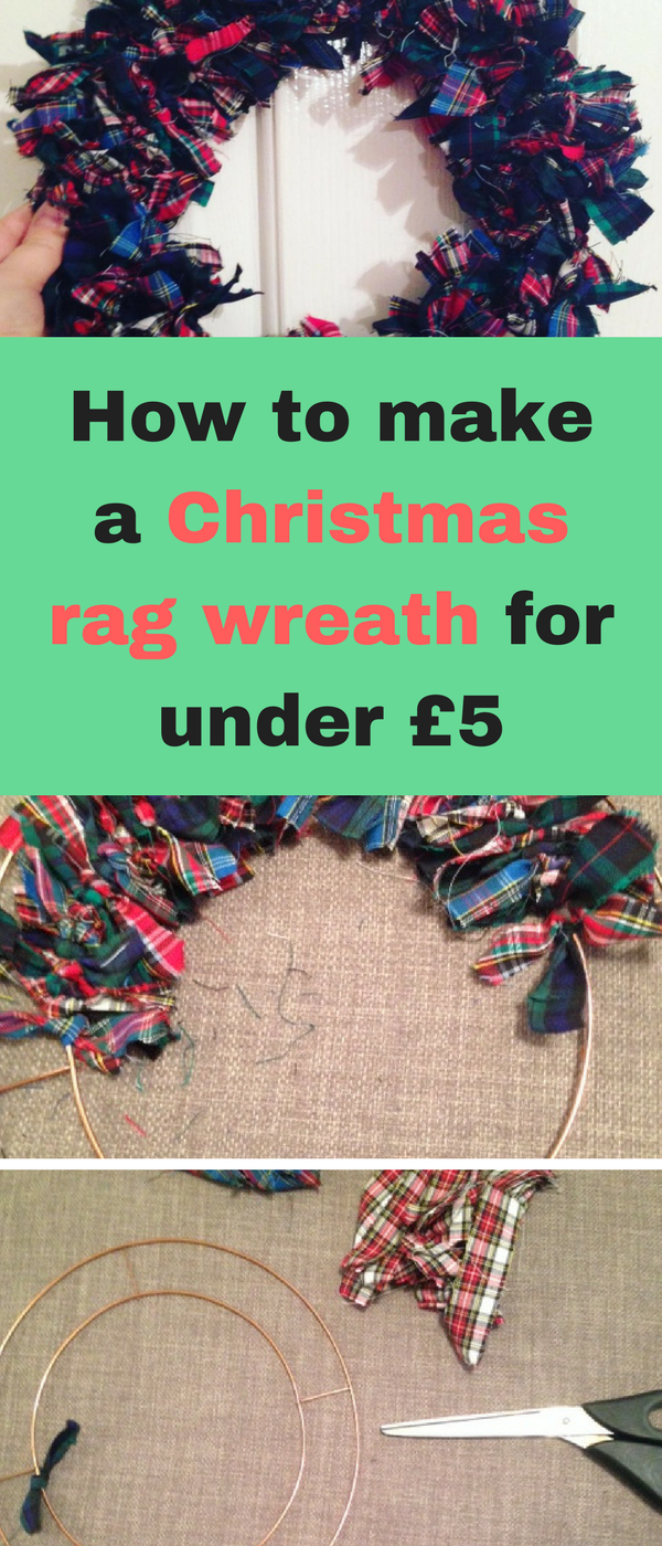 How to make a Christmas rag wreath for under £5 by Emma at Mums Savvy Savings.