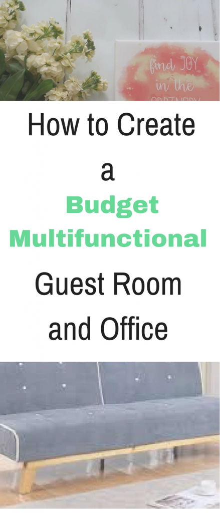 How to create a budget multifunctional guest room and office by Emma at Mums Savvy Savings. #BudgetRoom #BudgetOffice #Multifunctional