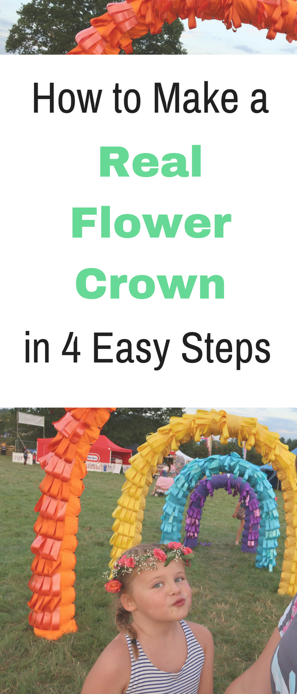 How to make a real flower crown in 4 easy steps by Emma at Mums Savvy Savings. #FlowerCrown #EasyFlowerCrown